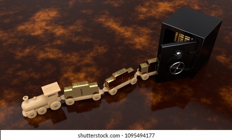 Wooden train toy lucky composition with gold bars, takes gold bars from the Bank safe. The idea of the gold reserve, the monetary Fund, embezzlement and investments. 3D illustration.