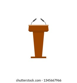 Wooden tribune, stand rostrum with microphones. Flat style
