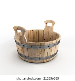 Wooden tub for washing isolated on white background