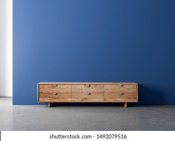Wooden tv console bureau mockup in empty living room with blue wall, 3d rendering