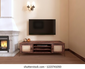A wooden TV unit by the fireplace. 3D rendering
