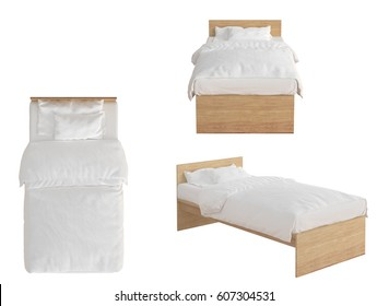 Wooden twin size single bed with white linen isolated on white background. 3d render