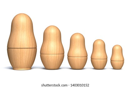 Wooden unpainted matryoshka dolls 3D render illustration isolated on white background
