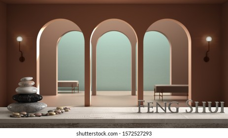 Wooden vintage table or shelf with stone balance, over blurred classic metaphysics interior design, living room with seat bench, feng shui, zen concept architecture interior design, 3d illustration