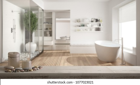 Wooden vintage table top or shelf with candles and pebbles, zen mood, over blurred minimalist bathroom with shower and walk-in closet, white architecture interior design, 3d illustration