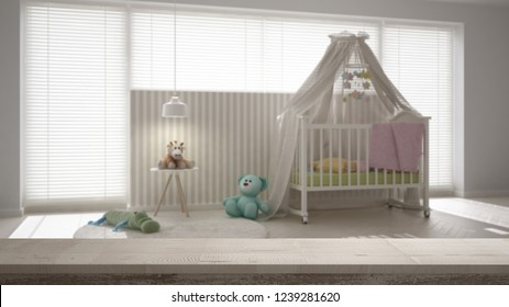 Wooden vintage table top or shelf closeup, zen mood, over blurred scandinavian nursery with canopy cradle, carpet and bedside table, white architecture interior design, 3d illustration