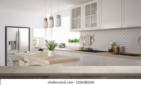 Wooden vintage table top or shelf closeup, zen mood, over contemporary minimalist scandinavian white and wooden kitchen with island and stools, white architecture interior design, 3d illustration