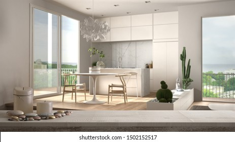 Wooden vintage table top or shelf with candles and pebbles, zen mood, over scandinavian minimalist kitchen with big panoramic window, white architecture interior design, 3d illustration