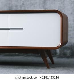 Wooden vintage tv stand close up 3D render