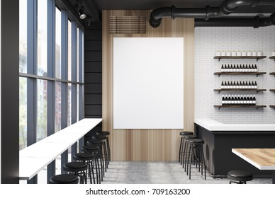 Wooden wall loft bar interior with a concrete floor, a white and black bar stand and black stools near white and wooden tables. A poster on the wall. 3d rendering mock up