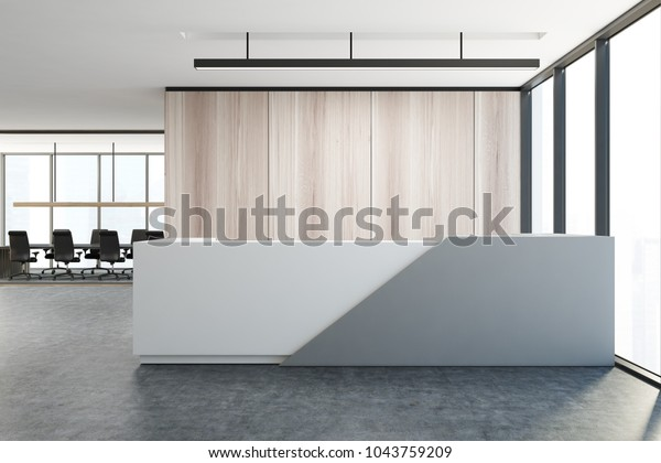 Wooden wall office interior with a white and gray reception table and an open space area. 3d rendering mock up