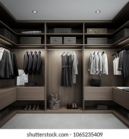 Wooden wardrobe with clothes hanging 3D render