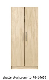 Wooden wardrobe isolated on white background, front view. 3D illustration
