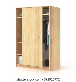 Wooden wardrobe with sliding doors isolated on white background. Include clipping path. 3d render