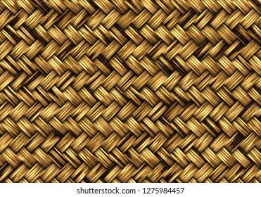wooden weaved basket background 3d illustration