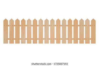 Wooden white fence. Farm wood wall yard isolated on white background with clipping path, 3D rendering
