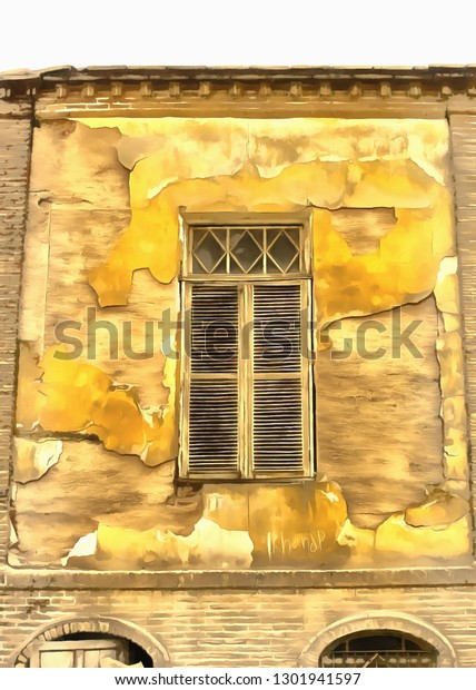 Wooden Window Shutters Old Abandoned House Stock