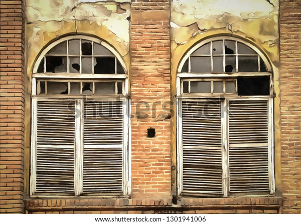 Wooden Windows Shutters Old Abandoned House Stock