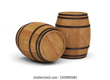 wooden wine barrels alcohol beer barrel 3D illustration