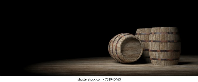 Wooden wine barrels on dark background, copy space. 3d illustration