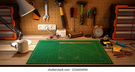Wooden workbench at workshop. Lot of different tools for diy and repair works. 3D Rendering.