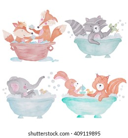 Woodland Animals in the bath Watercolor Set Isolated on the white