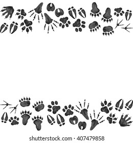 Woodland Animals Foot Prints Border Watercolor Seamless Pattern