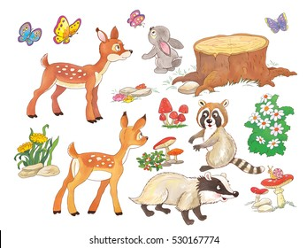 Woodland animals.Cute deer, rabbit, raccoon,badger, butterflies, mushrooms and flowers isolated on white background.  Coloring book. Coloring page. Funny cartoon characters