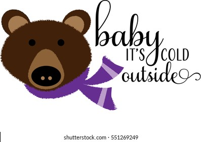 Woodland Bear Baby It's Cold Outside Greeting Card Winter