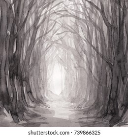Woodland path, watercolor illustration of ghostly trail. Old trees in enchanted forest, into the woods.