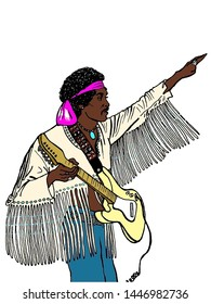 Woodstock Festival, Bethel, New York on August 18, 1969, Jimi Hendrix performing. Illustration made with black pen on paper and colored in digital.