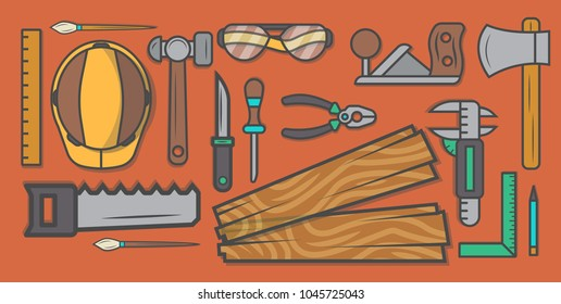 Woodworker Workplace Vector Illustration Carpentry Professional