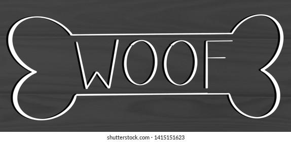 Woof Dog Bone Calligraphy Sign