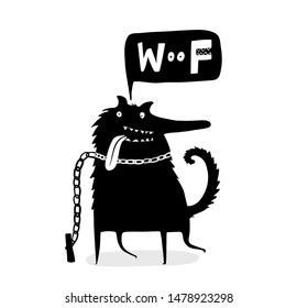Woof Saying Funny Dog on the Leash.  Scandinavian style Cute doggie talking speech hand drawn lettering.