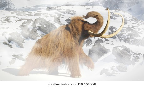 woolly mammoth, prehistoric mammal in ice age landscape (3d illustration)