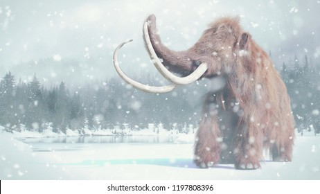 woolly mammoth, prehistoric mammal in snowy ice age landscape (3d illustration)
