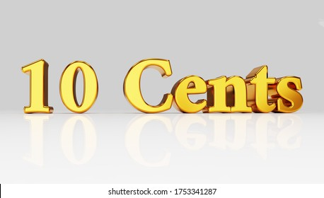 a word 10 Cents on white background, 3d illustration