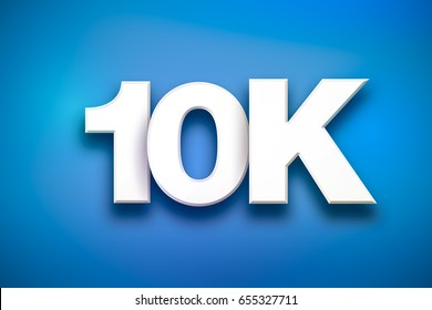 The word 10K concept written in white type on a colorful background.