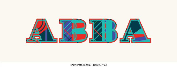 """The word """"ABBA"""" concept written in colorful abstract typography."""