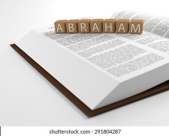 The word Abraham placed on an open bible isolated on white. 3D Illustration