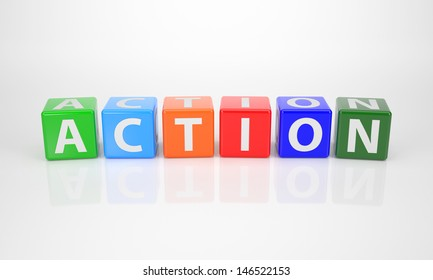 The Word Action out of multicolored Letter Dices