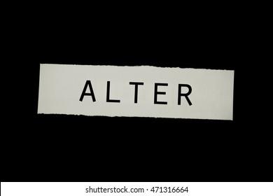 the word Alter on black background, translation: age