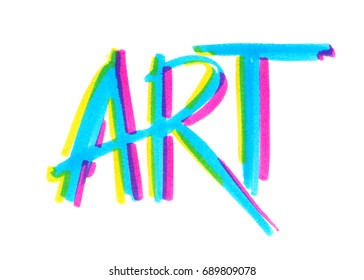 """Word """"art"""" painted in bright neon felt highlighter pen on clean white background"""