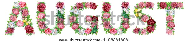 Word August of watercolor flowers, isolated hand drawn on a white background, wedding design, english alphabet
