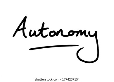 The word Automony handwritten on a white background.