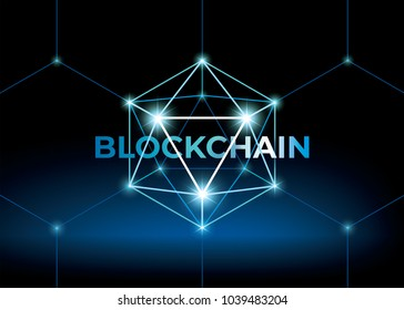 Word blockchain with low polygonal sphere. 3D hexahedron with glow. Futuristic style illustration.
