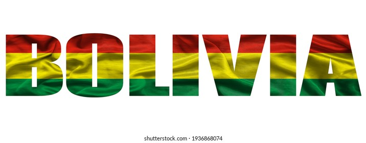 The word Bolivia in the colors of the waving Bolivian flag. Country name on isolated background. image - illustration