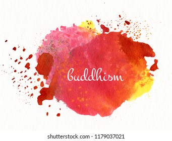 """word """"buddhism"""" on watercolor background"""