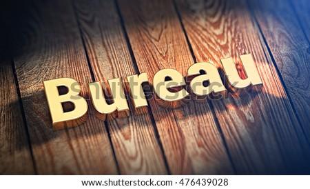 Word bureau lined gold letters on stock illustration