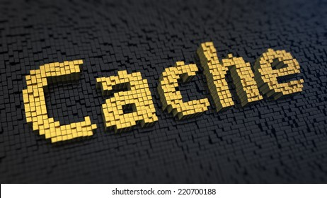Word 'Cache' of the yellow square pixels on a black matrix background. Computer technology and electronics concept.